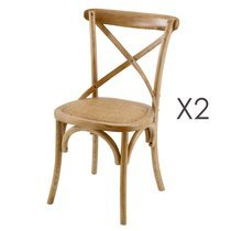 Lot de 2 chaises coloris naturel - BISTRONO