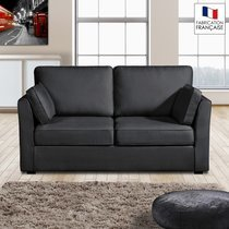 Canapé 2 places fixes - 100% coton - coloris anthracite CHARLES