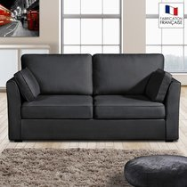 Canapé 3 places fixes - 100% coton - coloris anthracite CHARLES