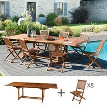 Ensemble 1 table rectangulaire 200*300/120 cm + 4 lots de 2 chaises