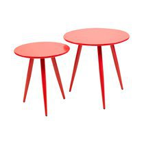 Lot de 2 tables basses en métal et MDF - rouge