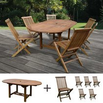Table de jardin 160/210x100x75cm + lot de 6 chaises