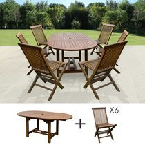 Table de jardin 120/170x100x75 + lot de 6 chaises