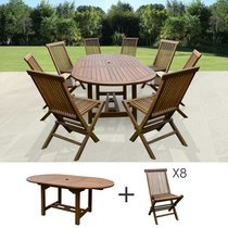 Table de jardin 160/210x100x75cm + lot de 8 chaises