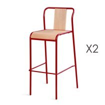 Lot de 2 Chaises de bar rouge - ATTOMAC
