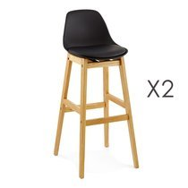 Lot de 2 tabourets de bar design 42x48x102cm noir -  ELO