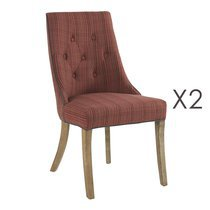 Lot de 2 chaises Léopold Rouge Chiné 50x55x90cm
