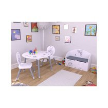 Set table et 2 chaises blanc et gris - OURS