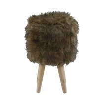 Pouf 28 x 28 x 45cm assise fourrure marron - OLIVE