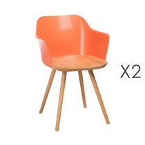 Lot de 2 chaises coque orange et naturel - SHELL