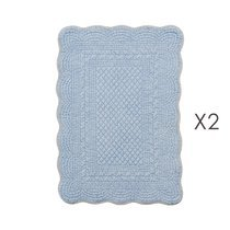 Lot de 2 set de table 35x50 cm en coton bleu clair