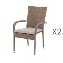 Lot de 2 chaise empilables 55x66x94 cm en rotin taupe