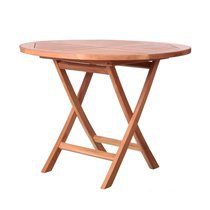 Table ronde pliable 100x100x78,5 cm en teck naturel
