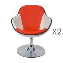 Lot de 2 fauteuils design 68x68x82,5cm blanc/rouge - DAYTO