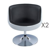 Lot de 2 fauteuils design 60x60x70cm noir/blanc - HERROW
