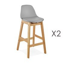 Lot de 2 chaises de bar design 38x86x43 cm gris - ELO