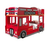 Lits superposés bus london 90x200 cm + matelas rouge