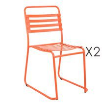 Lot de 2 chaises 56x86,5x47cm en métal orange
