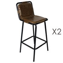 Lot de 2 chaises de bar 51x42x106 cm en PU marron
