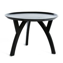 Table basse ronde 60 cm en teck noir