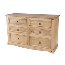 Commode 6 tiroirs 132x43x83 cm en pin massif - SERGO