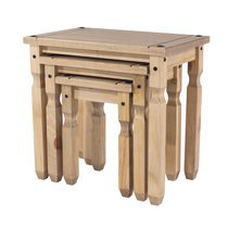 Lot de 3 tables gigognes en pin massif - SERGO