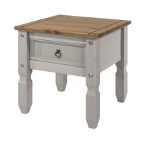 Table de chevet 1 tiroir 54x54x55 cm gris et naturel - SERGO