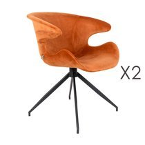 Lot de 2 chaises design en tissu orange - LUMIA