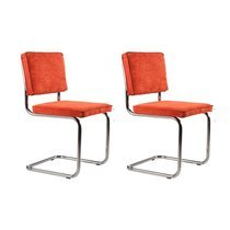 Lot de 2 chaises en tissu orange - RIDGE