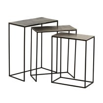 Lot de 3 tables d'appoint 53/48/43 cm en aluminium - CUSCO