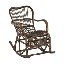 Rocking chair 95x56x86 cm en rotin marron