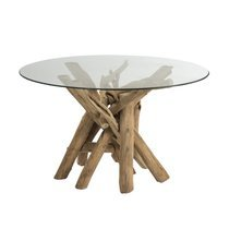 Table à manger ronde 128x128x75 cm en bois flotté naturel - GOA