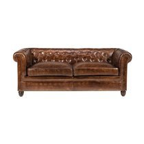 Canapé Chesterfield 3 places en cuir marron