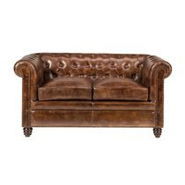 Canapé Chesterfield 2 places en cuir marron