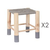 Lot de 2 tabourets en paille grise et pin naturel