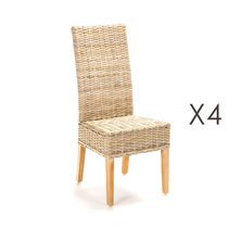 Lot de 4 chaises repas en kubu - SUCCESS