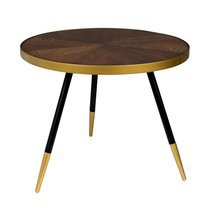 Table basse 61x40 cm en bois marron et or - DENISE