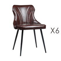 Lot de 6 chaises 48x55x76 cm en PU marron - NAVY