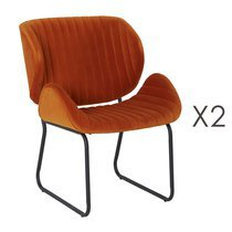 Lot de 2 chaises repas 65,5x58x82,5 cm en velours orange - KATY