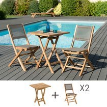 Ensemble en teck table carrée 60x60 cm + 2 chaises pliantes - GARDENA