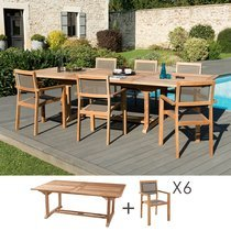 Ensemble en teck table 200/300 cm + 6 fauteuils - GARDENA