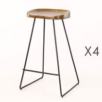 Lot de 4 tabourets de bar en acacia massif naturel et métal