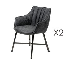 Lot de 2 chaises 60x62x85 cm en PU patiné noir - ROXY