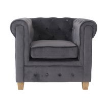 Fauteuil chesterfield en tissu velours anthracite - CHESTY