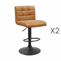 Lot de 2 chaises de bar 50x45,5x88 cm en PU camel - GABIN