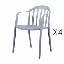 Lot de 4 chaises empilables grises - EMPY