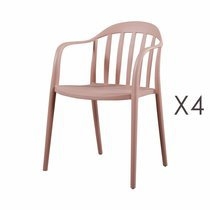 Lot de 4 chaises empilables roses - EMPY