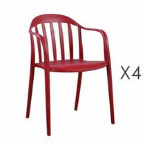 Lot de 4 chaises empilables bordeaux - EMPY