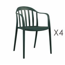 Lot de 4 chaises empilables vertes - EMPY