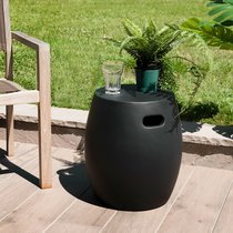Table d'appoint ronde 42 cm en béton noir - BETTY